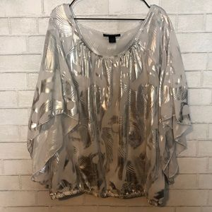 Ashley Stewart Plus Size Silver Metallic Blouse 16
